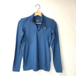 Under Armour small Coldgear half zip blue sweater